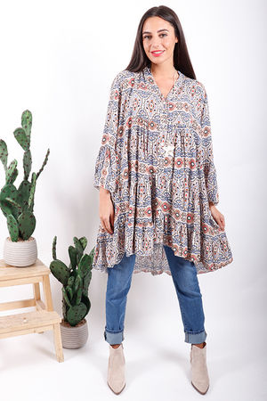 Gypsy Soul Print Flare Tunic Denim