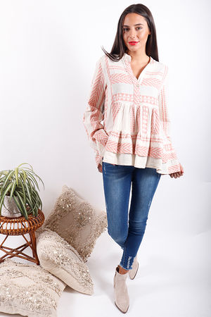 Gypsy Soul Tiered Blouse Pink Clay