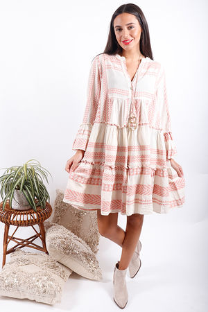 Gypsy Soul Tiered Dress Pink Clay