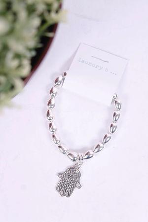 Hamsa Hand Pendant Large Beaded Bracelet