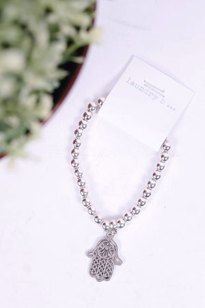 Hamsa Hand Pendant Silver Bracelet