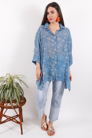 Happy Few China Blue Button Back Shirt