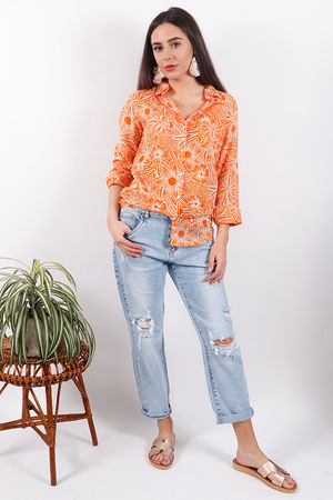 Happy Few Retro Orange Flower Shirt