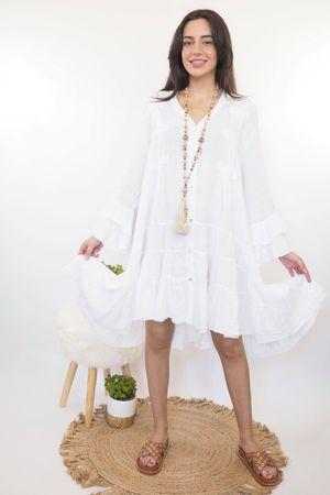 The Ibiza Dream Oversized Linen Dress White