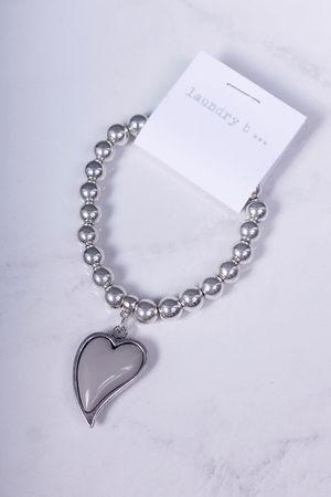 Heart Bracelet Silver & Dove Grey