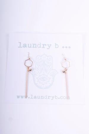 Hexagon Drop Earrings Gold