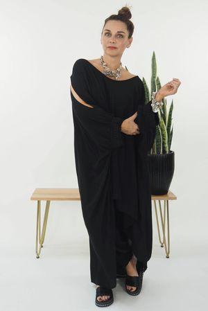 Hi Lo Cold Shoulder Dress Black