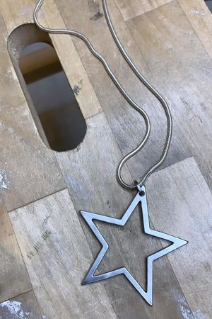 Hollow Star Necklace Brushed Steel