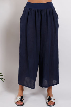 Inky Pinky Linen Culottes Navy