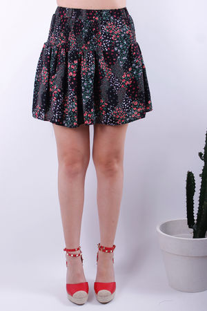 Isabel Ditzy Floral Elasticated Skirt Black