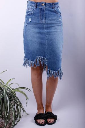 Jagged Edge Midi Denim Skirt
