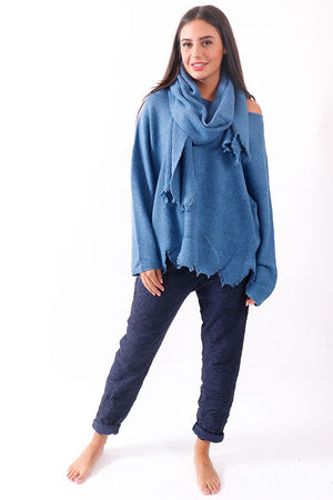 Jagged Scarf Knit Denim