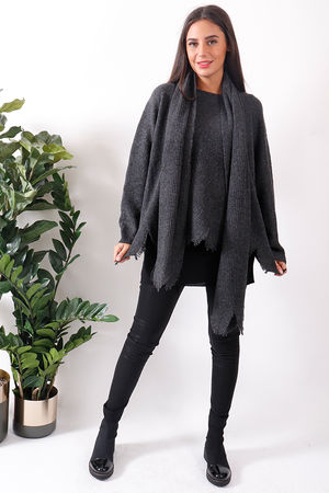 Jagged Scarf Knit Graphite