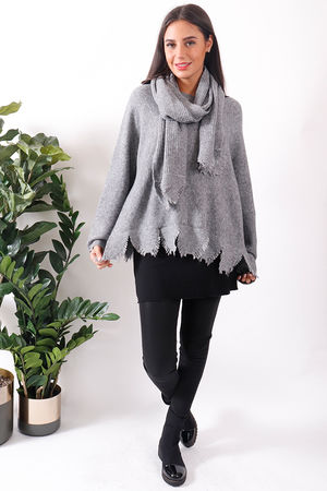 Jagged Scarf Knit Grey Marl
