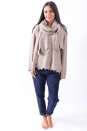Jagged Scarf Knit Oat