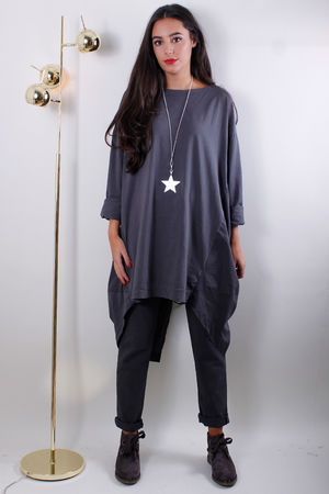 Jersey Front Pull Back Long Top Grey