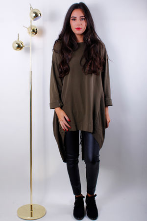 Jersey Front Pull Back Long Top Khaki