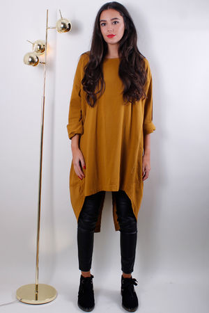 Jersey Front Pull Back Long Top Mustard