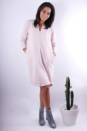 Jersey Pocketed V Long Sweat Dress Rose Quartz