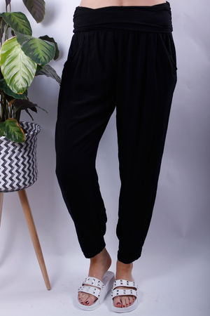 Jersey Waist Band Cuff Bottom Trousers Black