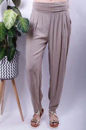 Jersey Waist Band Cuff Bottom Trousers Mocha