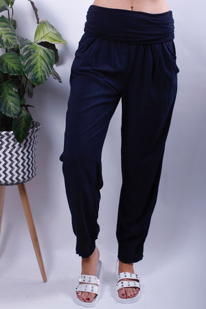 Jersey Waist Band Cuff Bottom Trousers Navy