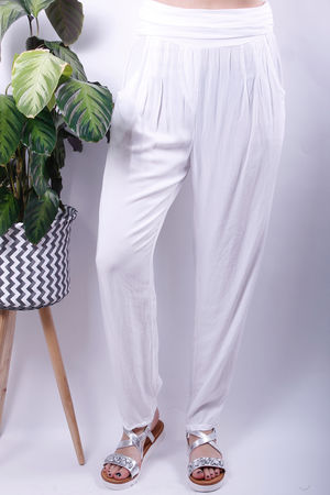 Jersey Waist Band Cuff Bottom Trousers White