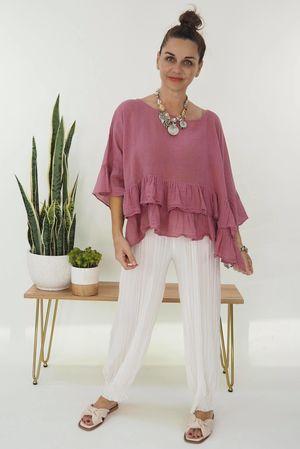 Jo Jo Frill Linen Top Indian Pink