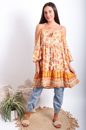 Juan Le Pin Cold Shoulder Tunic Marigold Oranges