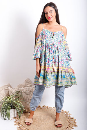 Juan Le Pin Cold Shoulder Tunic Riviera Blues