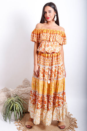 Juan Le Pins Bardot Maxi Dress Marigold Oranges