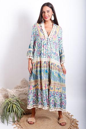 Juan Le Pins Peasant Dress Riviera Blues
