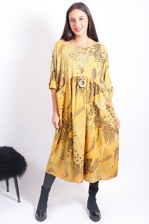 Jungle Empire Pocket Dress Ochre