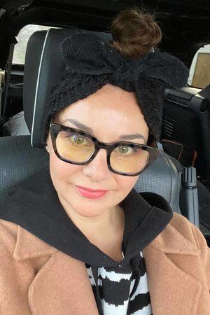 Knitted Bow Headband Black
