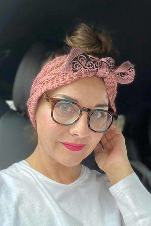 Knitted Bow Headband Dusky Rose