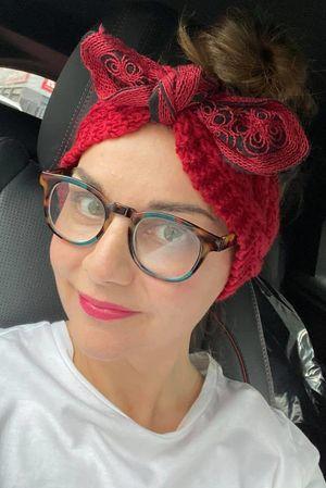 Knitted Bow Headband Merlot