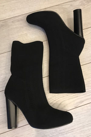 Knitted Sock Boots Black