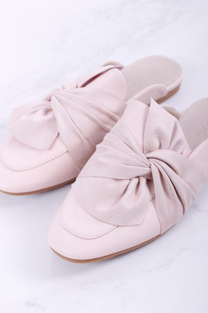 Knot Detail Backless Loafer Blush