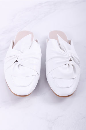 Knot Detail Backless Loafer White