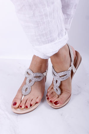 Knot Diamante Pull On Sandal