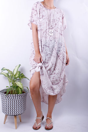 Knot Dye Summer Dress Rose