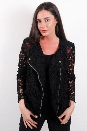 Lace Biker Jacket Black