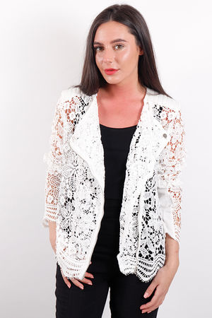 Eivissa Lace Biker Jacket White