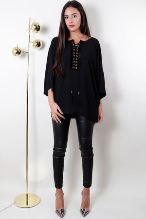 Lace Up Batwing Top Black