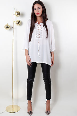 Lace Up Batwing Top White