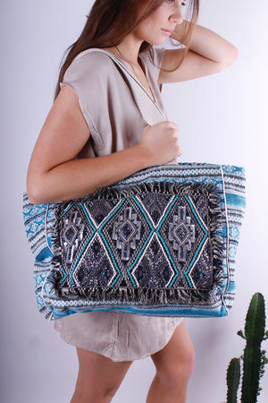 Lapis Aztec Embroidered Beach Bag