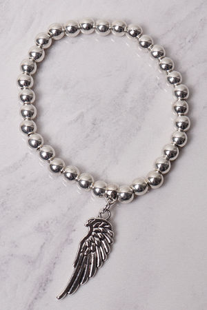 Large Beaded Angel Wing Bracelet Silver