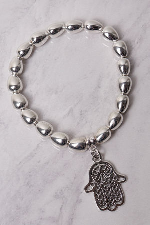 Large Beaded Hamsa Bracelet Silver