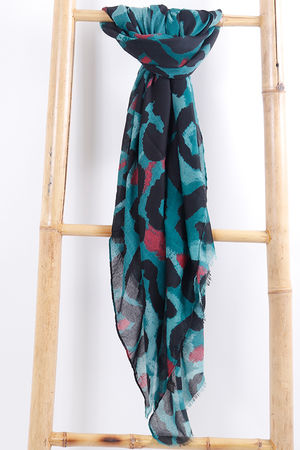 Large Leopard Print Scarf Green