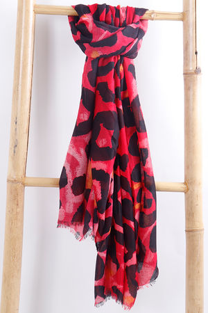 Large Leopard Print Scarf Red